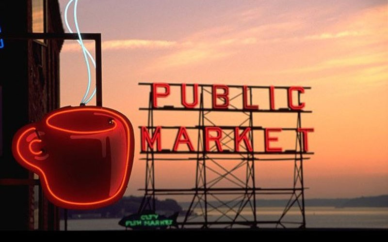 Pike Place Market Sign Sunset in Seattle